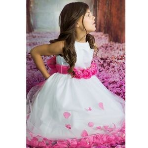 Us angels white communion flower girl dress